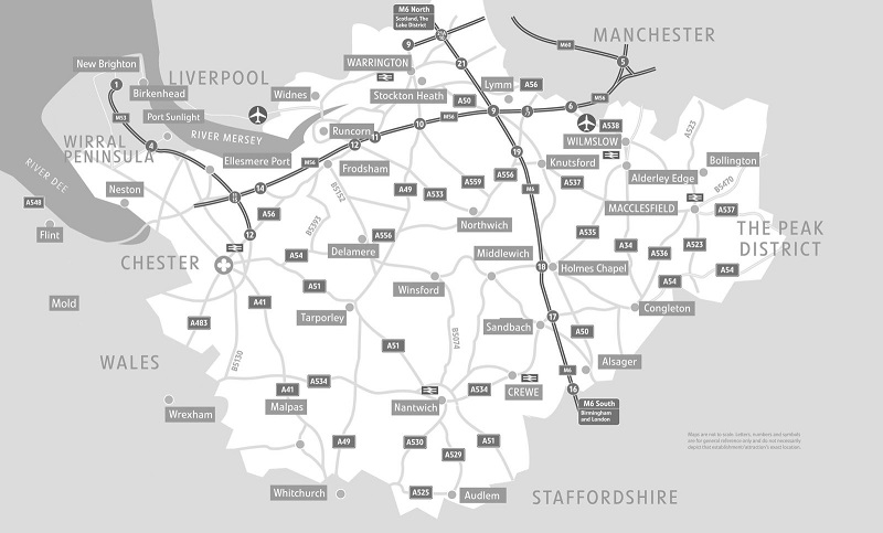 Map 9f England.Maps Guides Of Chester And Cheshire Visit Cheshire
