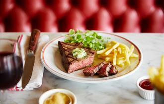 Delicious rump steak and chips at Cafe Rouge