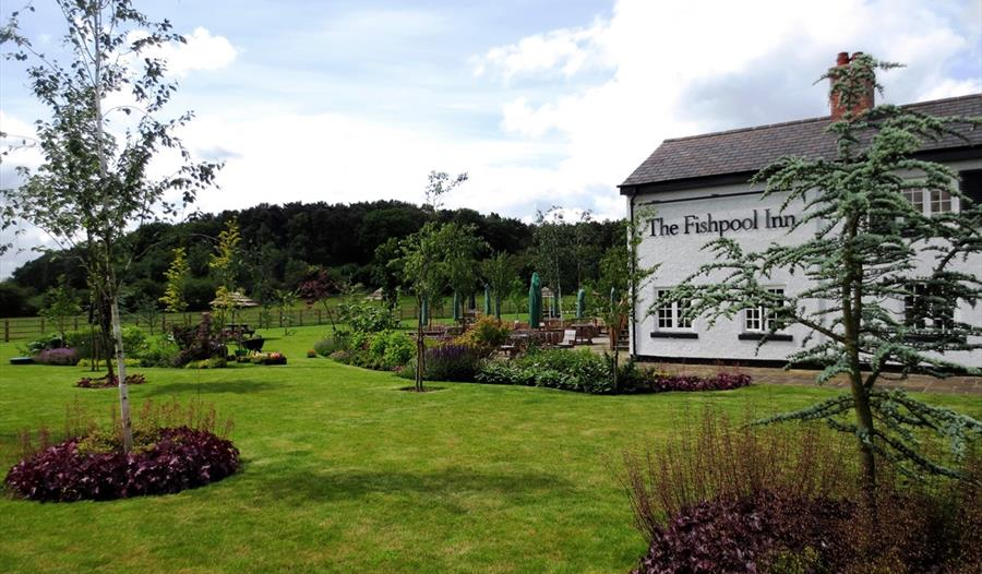 The Fishpool Inn exterior is a cosy award winning restaurant in Delamere Forest