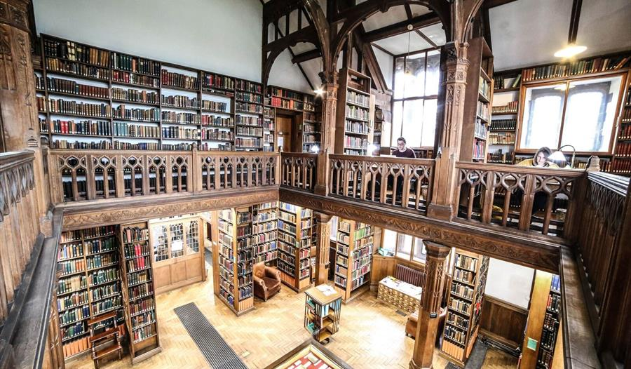 The stunning interior of the library at Gladstone's Library