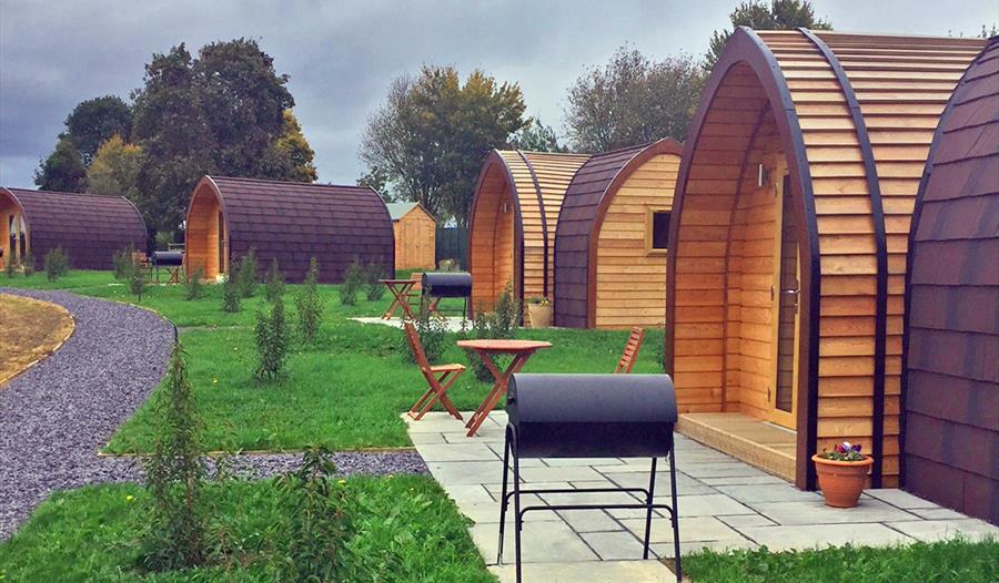 Glamping pods at Bradley Hall Rural Escapes