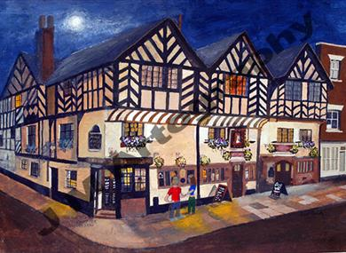 Ye Olde Kings Head at night by Jill Pears Artography