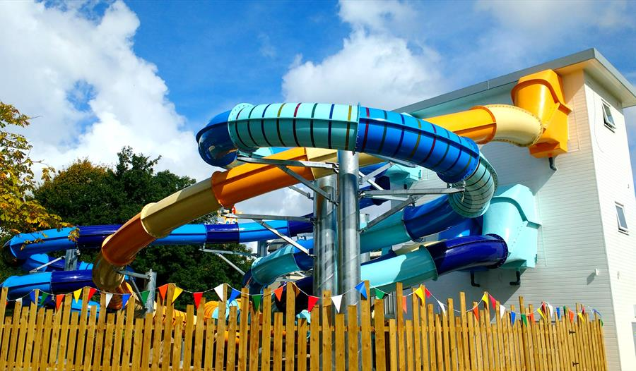 Slides at Splash Zone at Gulliver's World Resort